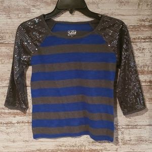 Justice Shirts & Tops - Girls Justice 3/4 top size 10 sequins
